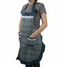 Checked Cotton Apron with Pocket - Green