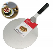 BAKECRAFT Professional Pizza Lifter Peel Cake Flipper Stainless Steel Round 25 cm 10 inch with Silicone Rubber Handle - Made in Taiwan