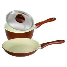 [Set of 2] Ceramic Coating Frying Pan 24cm + Sauce Pan 20cm Set
