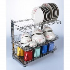 304 Stainless Steel 3 Tiers Three Layer Dish Rack Drainer Kitchen Organizer Storage Organiser Shelf with Double Trays