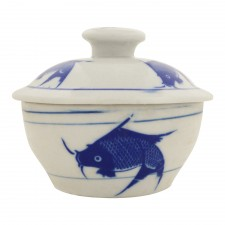 Chicken Pot with Cover Blue Fish No.1 [C203-F1]