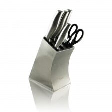Exclusive 7-Piece Luxury Stainless Steel Kitchen Knife Block Set Shear Sharpener Stand KBS7-B