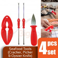 4 Piece Set Seafood Tools Crab Cracker Oyster Knife Fork Lobster Pin Shellfish Picks Needle