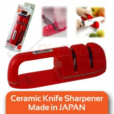 NEOKIREX 2 Stage Ceramics Knife Sharpener Kitchen Tool with Double Grindstone for Knives and Scissors (Red)