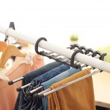 5-Slot Multipurpose Foldable Magic Pants Hanger Jeans Storage Organizer Space Saver