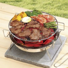 BIGSPOON Bipod Grill Pan 30cm Portable Round BBQ Stove Set Stainless Steel with Foldable Stand and Carrying Bag