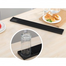 BIGSPOON Professional Rectangle Rubber Bar Service Spill Mat 60x8cm Black Water Proof Drip Mats Kitchen Glass Coaster Placemats