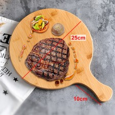 Solid Wood Round Pizza Peel Paddle Bread Cupcakes Serving Tray Serve Board Breakfast Lunch Dinner Food Server Plate 25cm