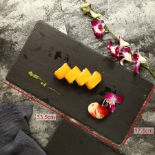 BIGSPOON Rectangular Natural Stone Serving Plate Board 33.5x17.5cm Black Slate Cheese Tray Food Server with Anti-Scratch Foam Bumpers Stand