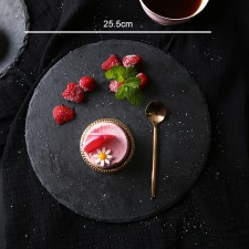 BIGSPOON Round Natural Stone Serving Plate Board 25.5cm Black Slate Cheese Tray Food Server with Anti-Scratch Foam Bumpers Stand