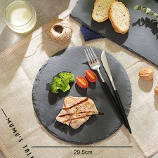 BIGSPOON Round Natural Stone Serving Plate Board 29.5cm Black Slate Cheese Tray Food Server with Anti-Scratch Foam Bumpers Stand