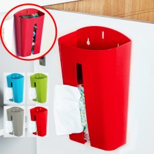 BIGSPOON Wall Mounted Grocery Bag Holder Plastic Bags Dispenser Tissue Box Storage Organizer Box (Red)