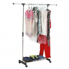BIGSPOON Single Pole Garment Rack Adjustable Clothes Drying Hanger Stand Laundry Drying Rack Extendable Length