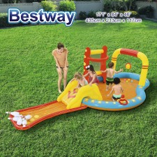 BESTWAY Lil Champ Play Center with Bowling Slide Basketball Water Sprayer Ball Inflatable Pool Model 53068