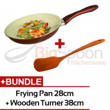 [KITCHEN STARTER KIT] Frying Pan Ceramic Coated Non-Stick 28cm + Wooden Turner 38cm