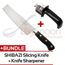 [KNIFE STARTER KIT] SHIBAZI Chinese Slicing Knife [H310] + NAKAJIMA Easy Knife Sharpener with Anti-Slip Base for Stainless Steel Knives NKS300-438C (Black)