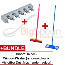 [HOME CLEANING KIT] 5-slot 6-hook Mop and Broom Holder Hanger Storage Organizer Wall Mounted + Microfiber Dust Mop (Random Colour) + Window Washer with Sponge and Rubber Wiper (Random Colour)